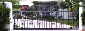 Sliding, wrought iron automated entry gate